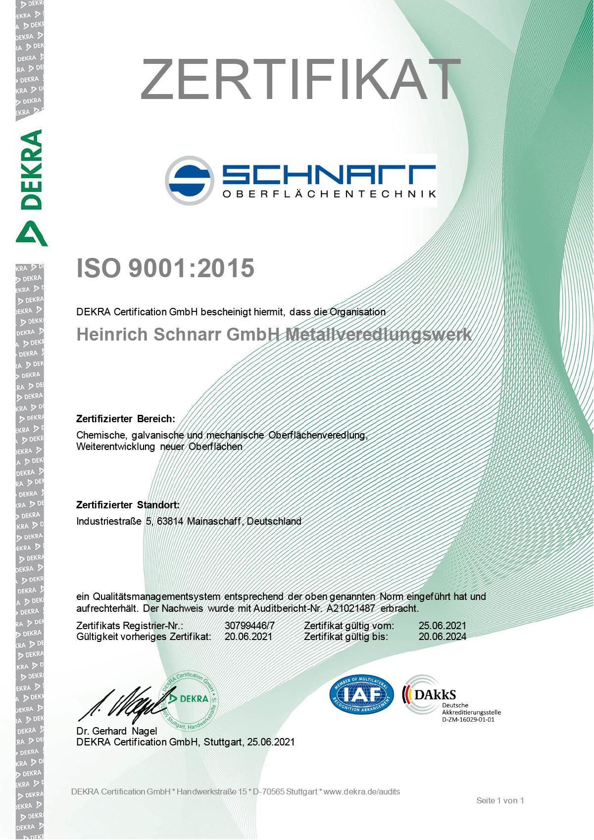 ISO Zertifikat DIN 9001:2008